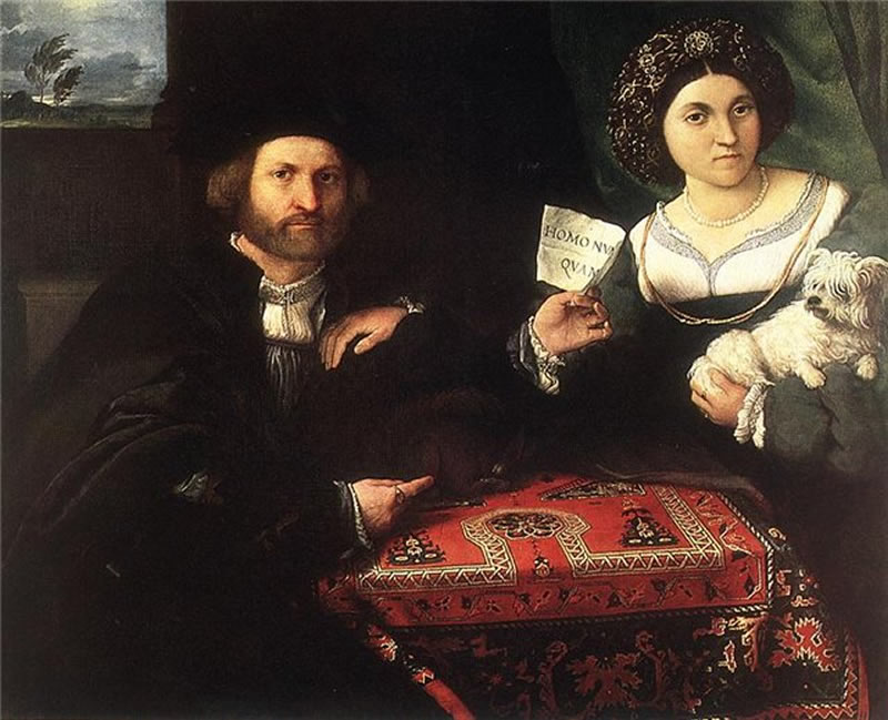 "El Bichón Maltés en el arte: ""Husband and Wife"" (1523), de Lotto Lorenzo."